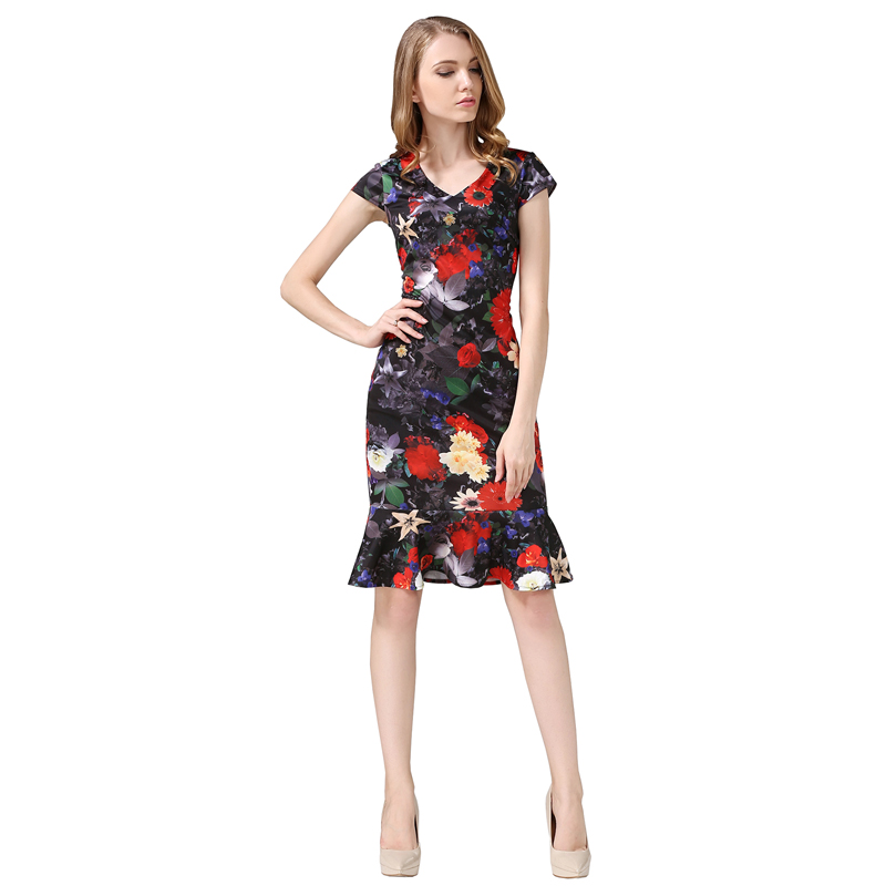 Multicolor Dress Office- ի Տիկնայք Աշխատանքային - Կանացի հագուստ - Լուսանկար 5