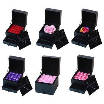 16 sztuk Romantyczny Sztuczne Róży Mydło Kwiaty Zestaw Pudełko dla Wedding Party Favor Twórcze Urodziny Prezenty Walentynki obecne