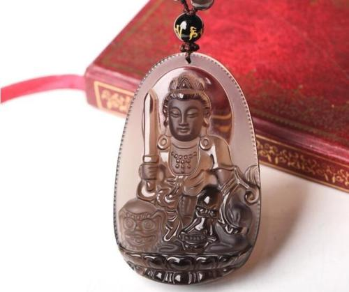 Natural Light Brown Obsidian Bodhisattva Necklace Pendant Beaded Chain >>>women jewerly