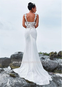 Image 2 - Glamorous Sweetheart Neckline Mermaid Wedding Dress With Beaded Lace Appliques Spaghetti Straps Beach Bridal Dress