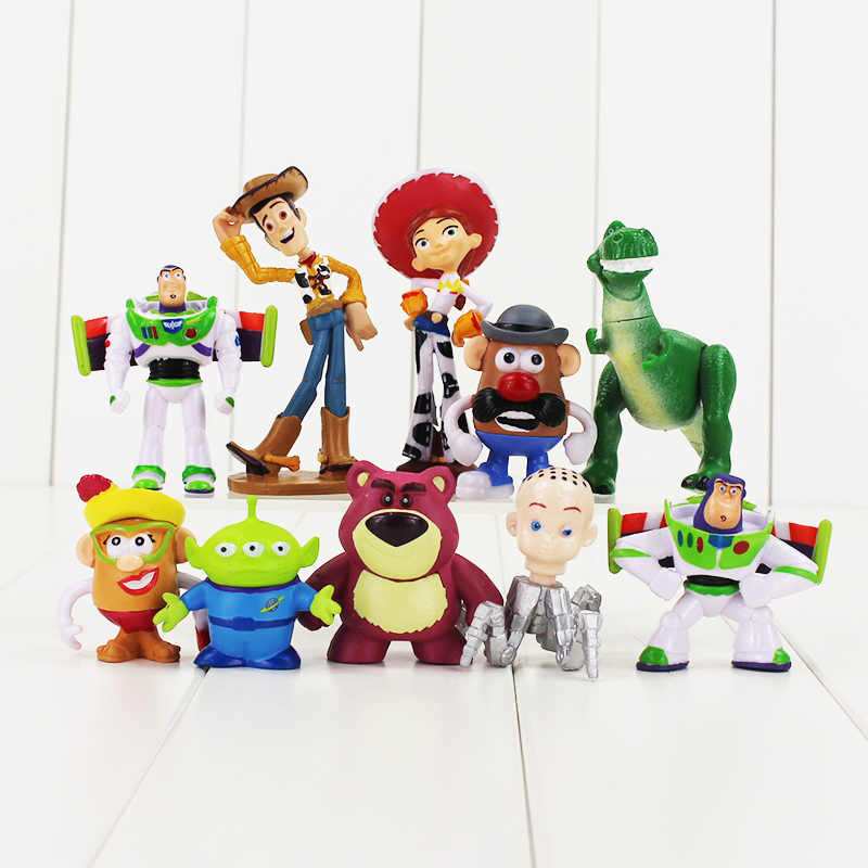 10pcs/lot Toy Story Figure Toy Woody Buzz Lightyear Jessie Rex Mr Potato Head Little Green Men Lotso Mini Baby Toys