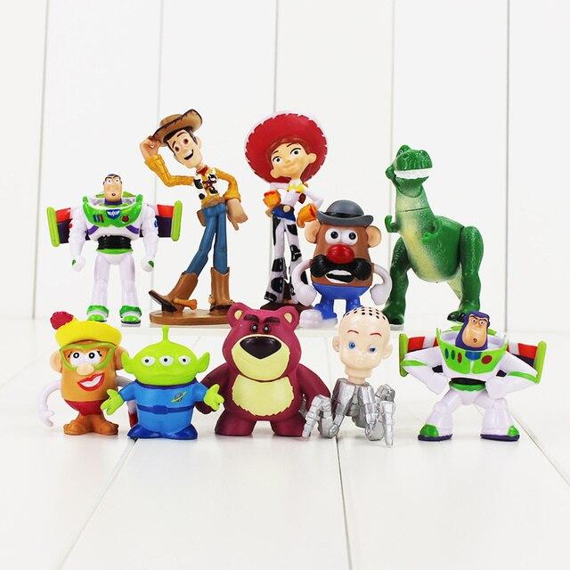 10pcs Lot Toy Story Figure Toy Woody Buzz Lightyear Jessie Rex Mr