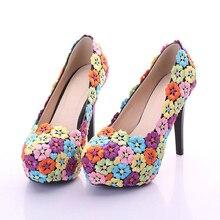 Colorful Lace Flower Shoes 12cm Fashion Wedding Shoes Performance Dancing Pumps Bridesmaid Shoes Women Bridal Prom Party Shoes