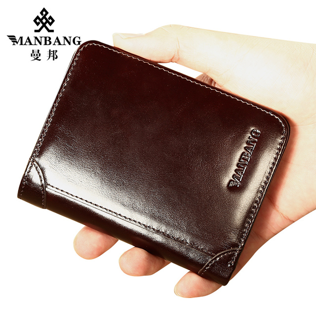 ManBang Classic Style Wallet Genuine Leather Men Wallets Short Male Purse Card Holder Wallet Men Fashion High Quality 4