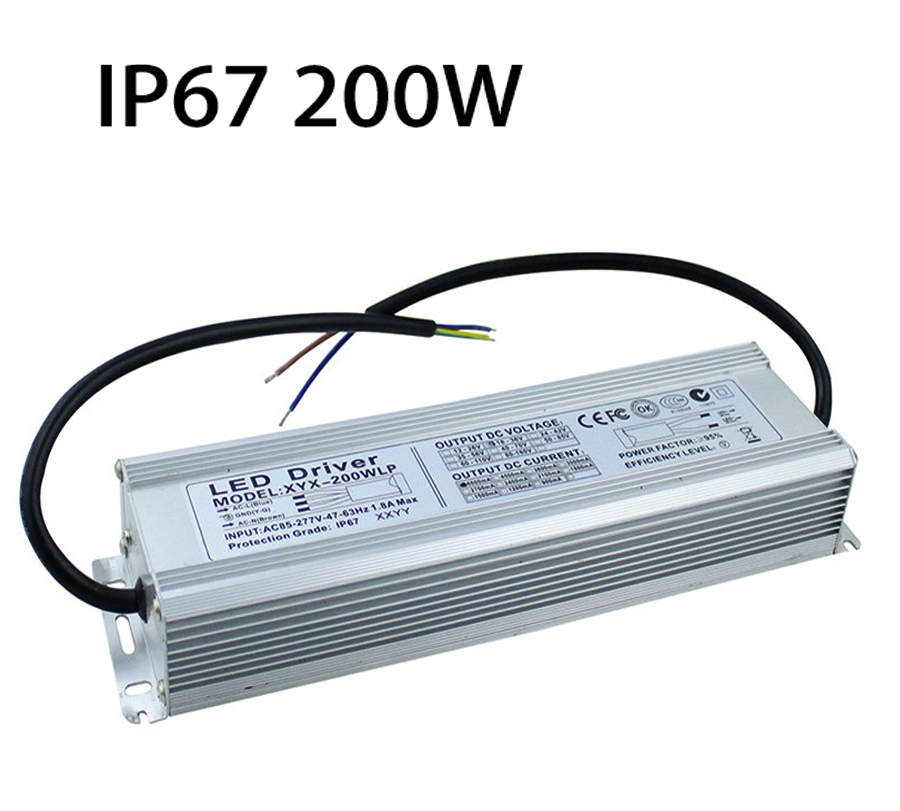 IP67 Waterproof Transformer 200W Power Supply Adapter LED Driver AC85W-277W To DC18-36V Outdoor Lighting For Led Strip Bar Light