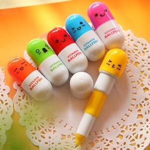Image 1 - 100 pcs 뜨거운 판매 만화 다채로운 유연한 볼펜 한국어 편지지 크리 에이 티브 볼 포인트 펜 선물 학교 용품 캡슐