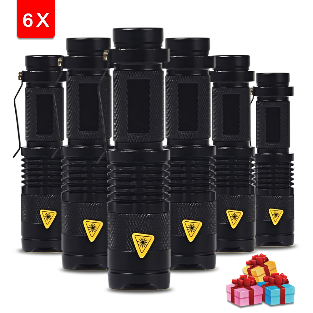 6PCS/lot Mini LED Torch 3 Modes 2000LM Q5 LED Flashlight Adjustable Focus Zoom Flash Light Lamp Portable Light use AA 14500
