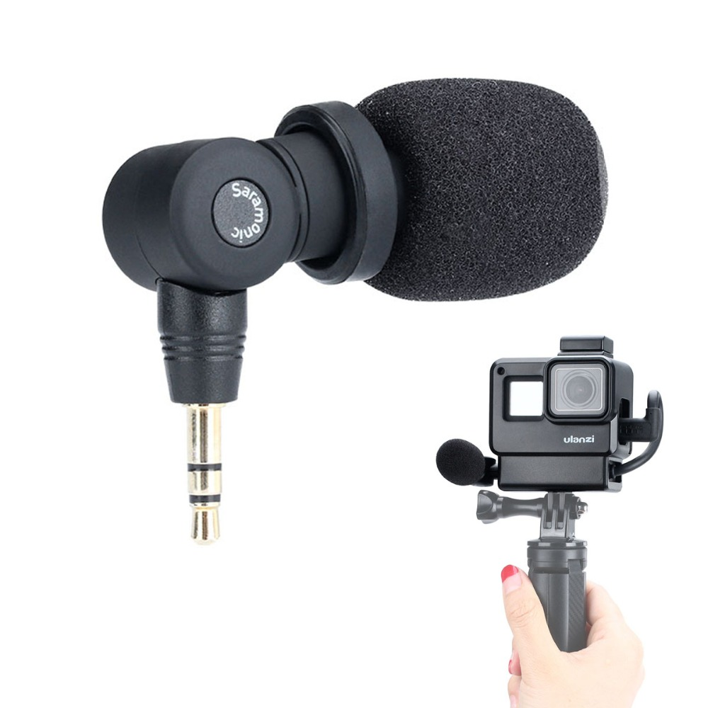 V2 Housing Case Mini Tripod Handle Saramonic SR-XM1 3.5mm Wireless Video Recording Microphone Vlog Setup for Gopro Hero 7 6 5