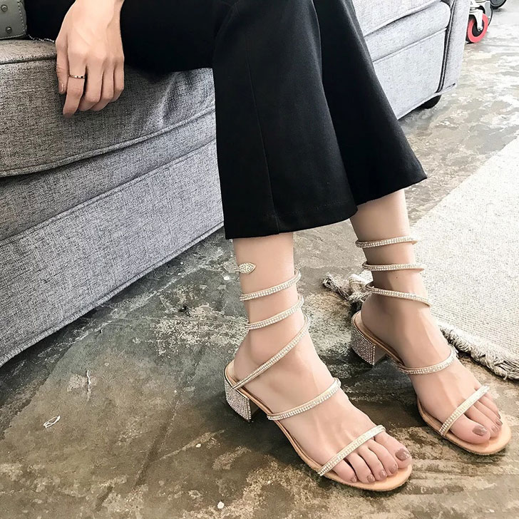 Sandales Noir Chaussures Serpent Plage Gladiateur Boucle Nouveau Cheville Talon D'été Femme Cristal Femmes champagne Épais Sandalias Mujer 2018 aUqgtqWn