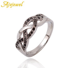 Ajojewel Elegant Style Simple Rings Shinning Black Rhinestone Pave For Women 2018 Finger Wedding Vintage Jewelry