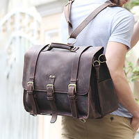 Men S Bags Men Briefcase Vintage Carzy Horse Genuine Cowhide Leather Bag Luxury Quality Solid Thick