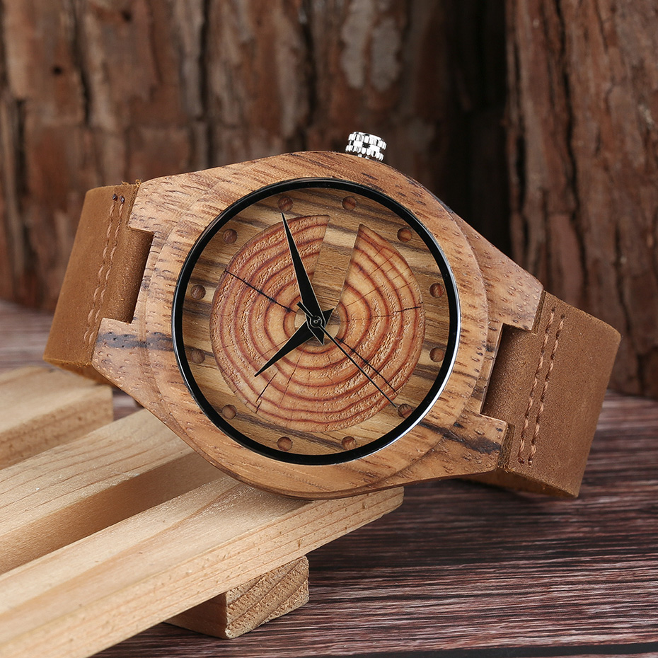 Men`s Wood Watch Handmade Annual Rings Block Points Black Hands Men Quartz Wrist Watches Brown Genuine Leather Starp Sports Hour (9)