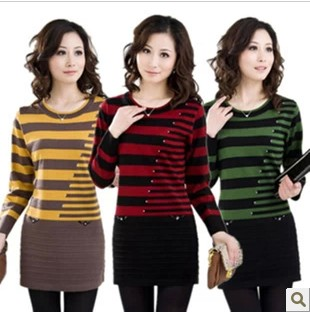 New 2018 Spring Autumn Women Slim striped bottoming pullover sweater  large  size 3XL