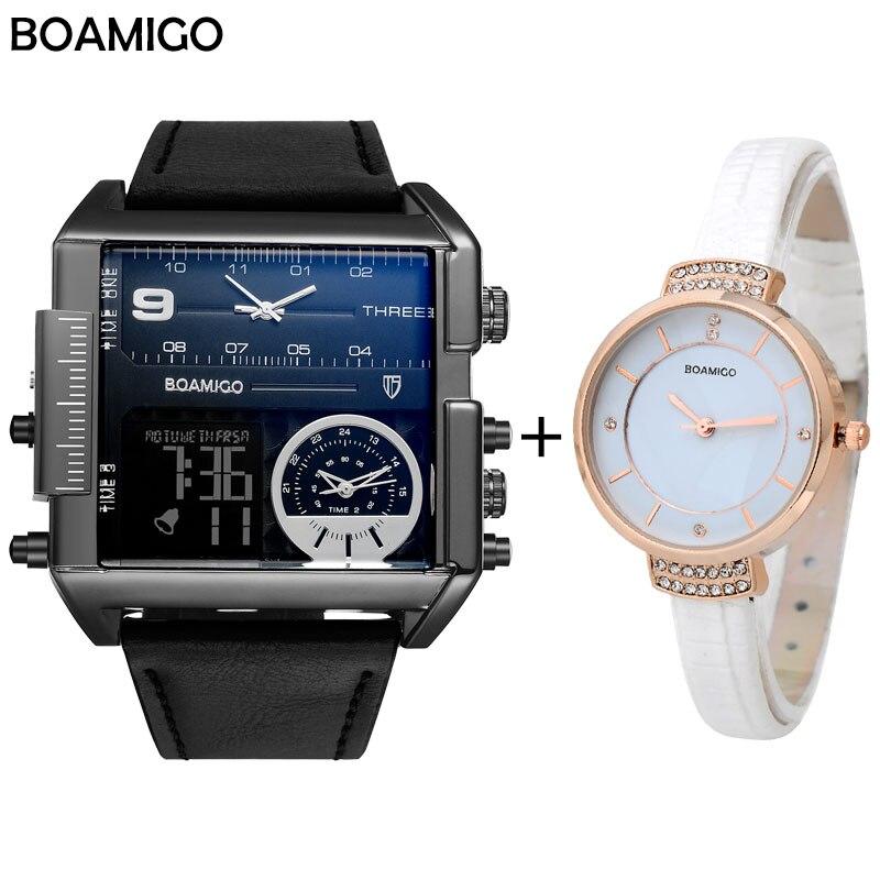 BOAMIGO marque hommes sport montre amoureux montres ensemble militaire numérique analogique 3 fuseau horaire grandes montres en cuir Relogio Masculino