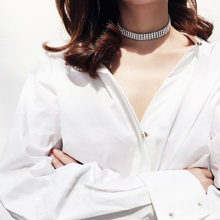 Rhinestone Crystal Choker Necklace Women Wedding Accessories Silver Chain Punk Gothic Chokers Jewelry Collier Femme kolye #95027 4