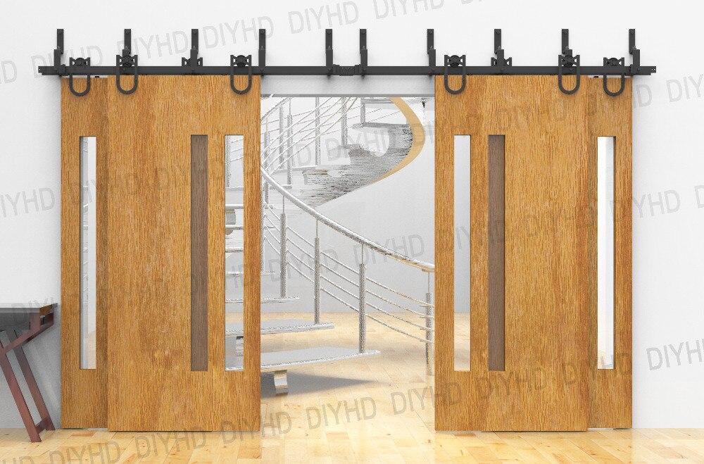 10ft Bypass Sliding Barn Wood Closet Door Rustic Black Hardware For
