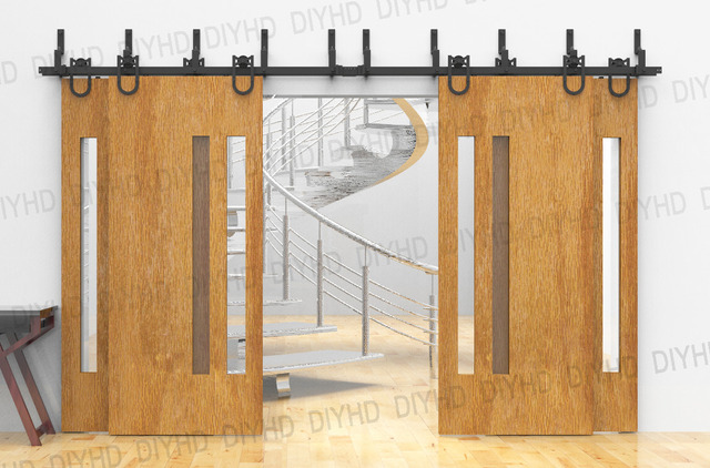 Horseshoe Bypass Sliding Barn Wood Closet Door Rustic Black Barn Door Track  Hardware For 4 Doors