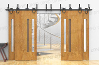 Horseshoe Bypass sliding barn wood closet door rustic black barn door track hardware for 4 doors