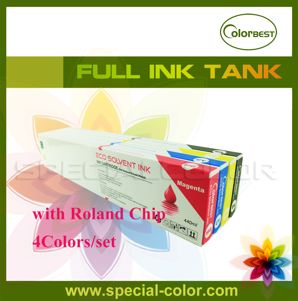 4 colors/set CMYK Roland DX4 Solvent Printer Full Ink Cartridge with chip 4 colors set cmyk roland dx4 solvent printer full ink cartridge with chip