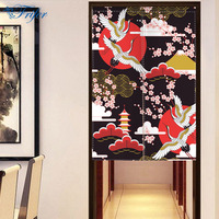 Innovative Japanese Noren Screen Scenery Canvas Landscape Painting Curtain Doorway Bedroom Door Curtains With Adjustable Rod