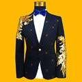 Плюс Размер Мужчины Куртка S-4XL Мода Золото Синий Блестка Вышитые Тонкий Производительность Пром Костюм Блейзеры