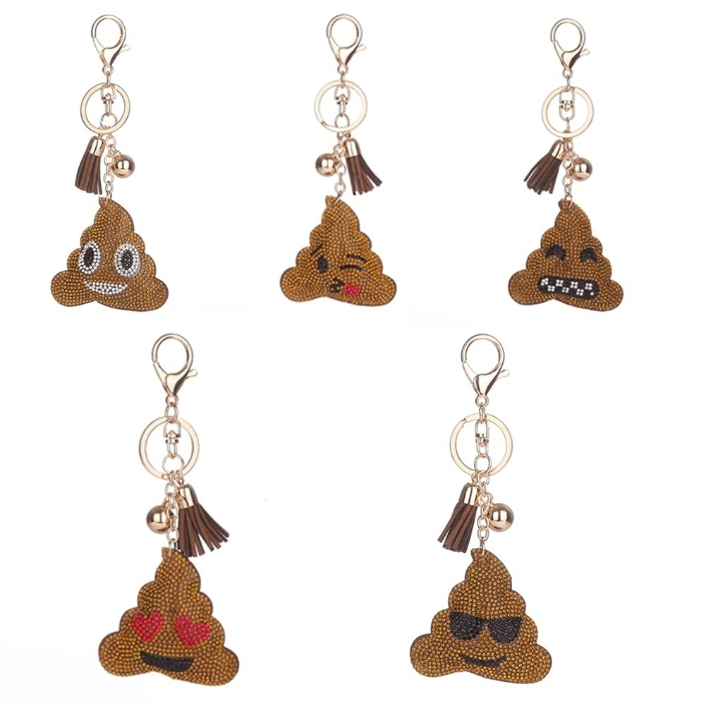 1PC Fashion Emoji Emoticon Poo Design Crystal Rhinestone Pendant Keychain Keyring Toy Gifts
