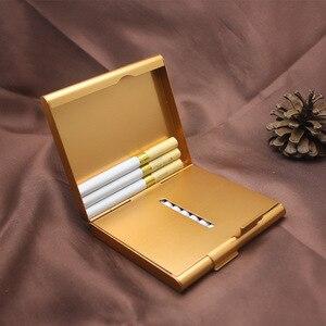 Image 2 - Двойной алюминиевый чехол для сигарет, футляр для сигар, металлический Карманный контейнер для хранения, аксессуары для сигарет