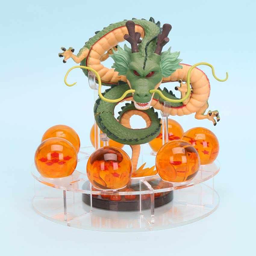 15cm anime dragon ball z figuras de ação shenron dragonball z figuras definir esferas del dragão + 7 pçs 3.5cm bolas + prateleira figurinhas dbz