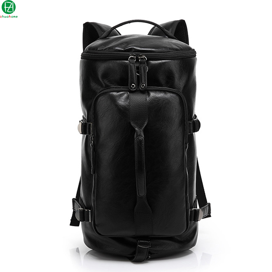 high quality learher man backpacks vintage large capacity men travel duffel bag black casual men shoulder school bags mochila high quality authentic famous polo golf double clothing bag men travel golf shoes bag custom handbag large capacity45 26 34 cm