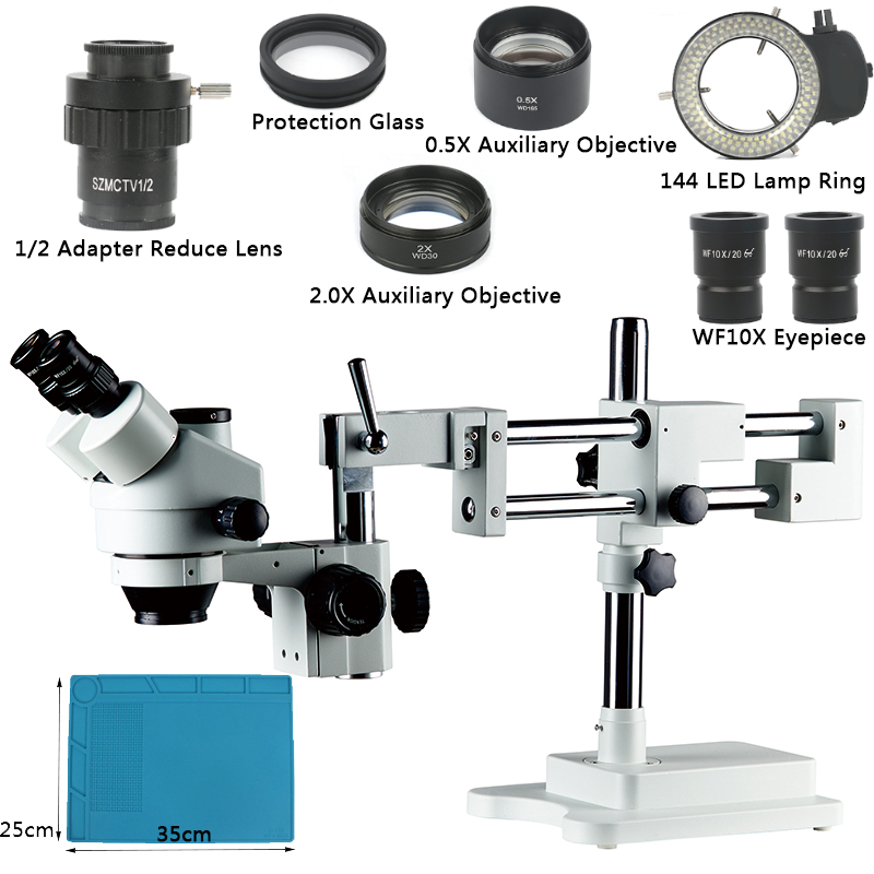 3.5X 7X 45X 90X Zoom Simul focal Double Arm Boom Stand Trinocular Stereo Microscope For Phone Chip PCB Soldering Repair Jewelry
