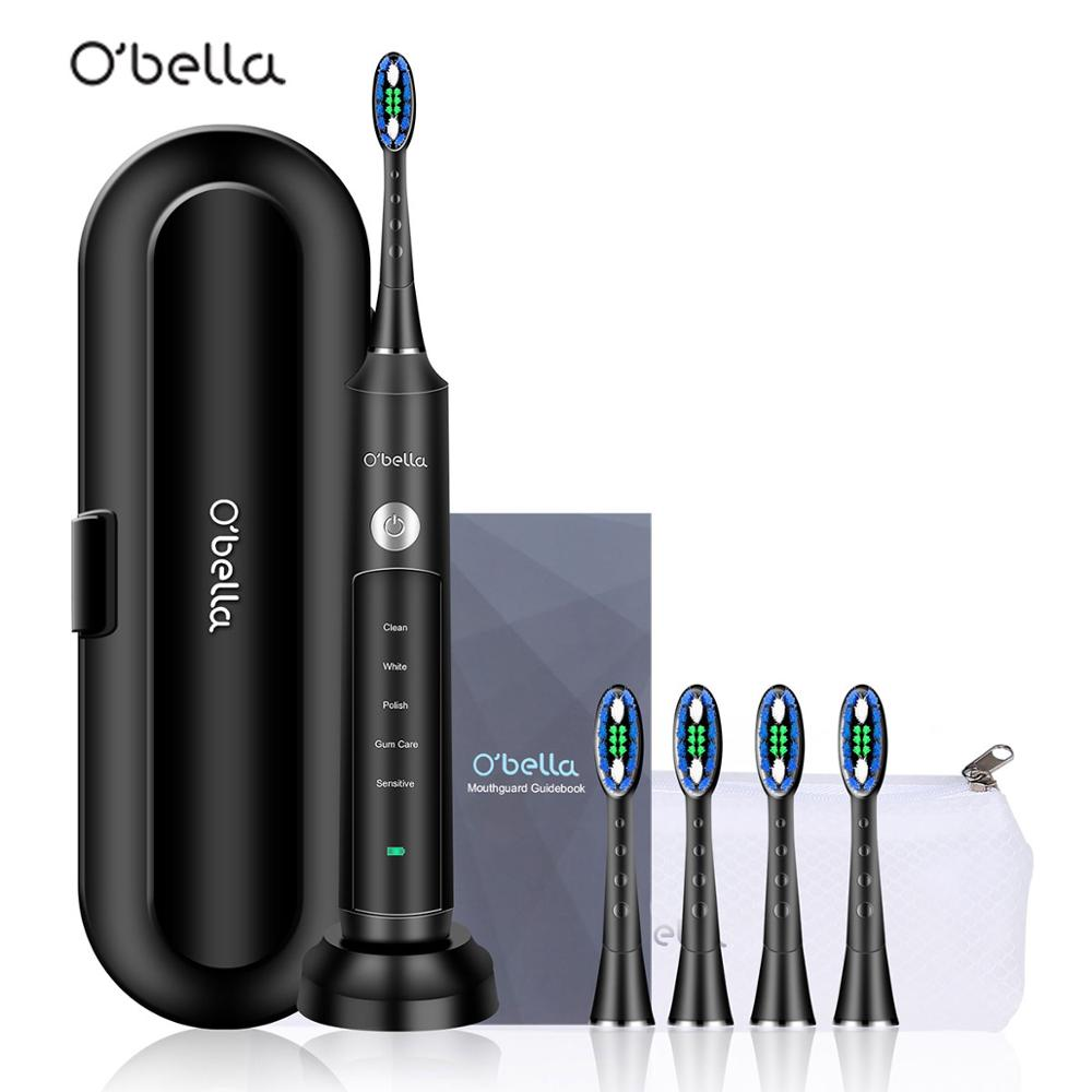 NEW O'BELLA 071B Sonic Electric Toothbrush 48000RPM Rechargeable Oral Adult Tooth Brushes With 4 Pcs DuPont Replacement Heads image