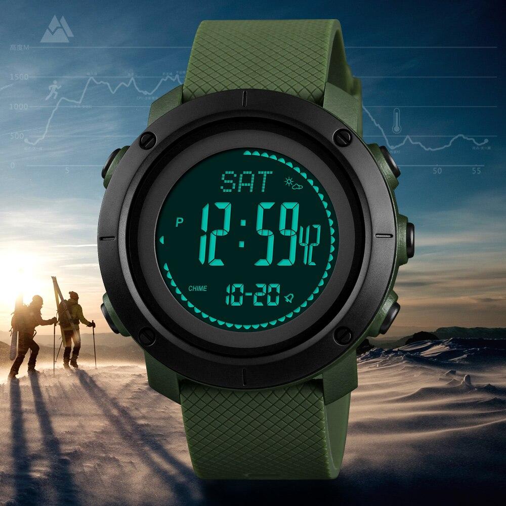 SKMEI Altimètre Baromètre Thermomètre Altitude Hommes Numérique Montres Sport Horloge Escalade Randonnée Montre-Bracelet Montre Homme 1418