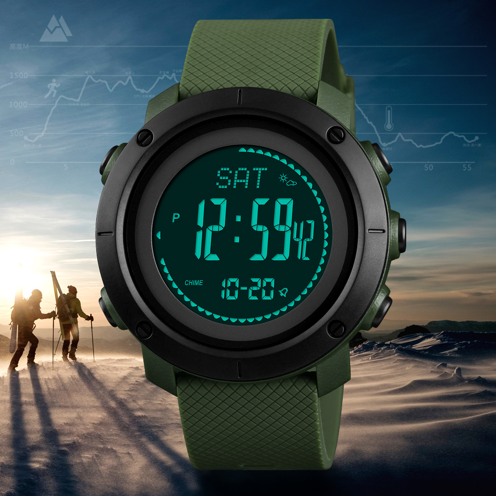 SKMEI altímetro barómetro termómetro altitud hombre relojes digitales deportes reloj escalada senderismo reloj Montre Homme 1418