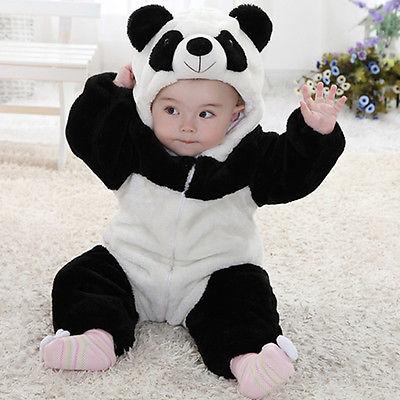 Baby Kid Toddler Newborn Boy Panda Animal Onesie Hooded Zipper Romper Jumpsuit Outfit Costume 0-3Y