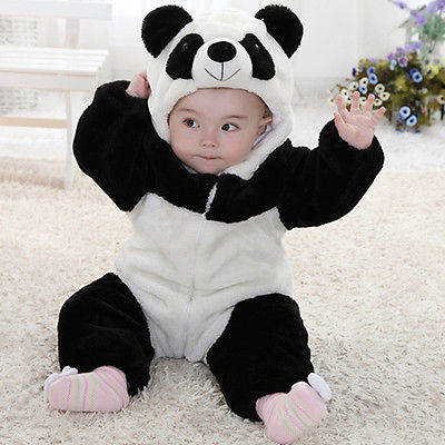 Baby Kid Toddler Newborn Boy Panda Animal Onesie Hooded Zipper   Romper   Jumpsuit Outfit Costume 0-3Y