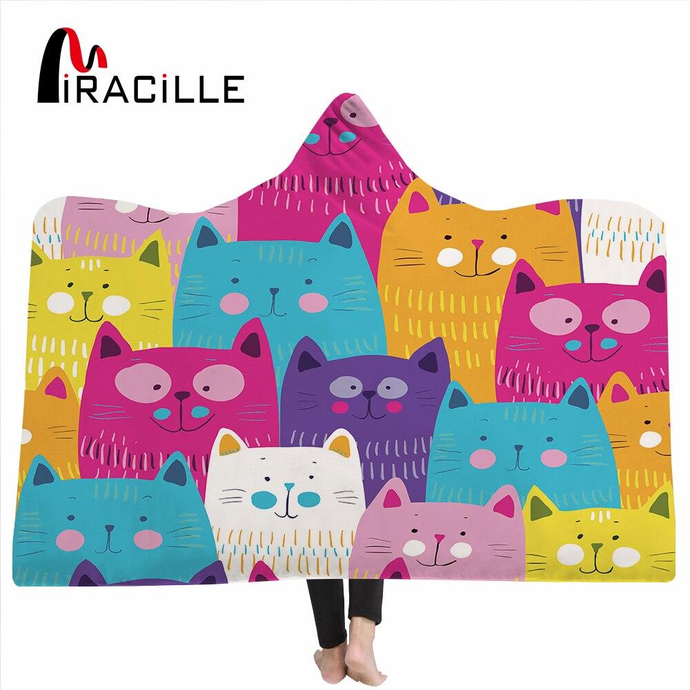 Miracille 漫画かわいい猫プリント家の装飾長方形毛布羊フリース快適な付きスローブランケット  グループ上の ホーム&ガーデン からの 毛布 の中 1