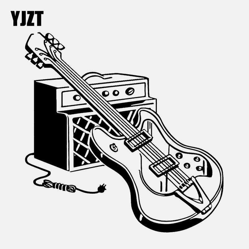 YJZT 15.8CM*16CM High Quality Electric Guitar Music Musical Instrument Rock Vinyl Car Sticker C22-0673