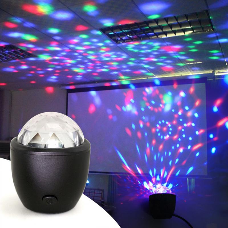 Mini Voice Activated USB Crystal Magic Ball <font><b>Led</b></font> Stage Disco Ball Projector <font><b>Party</b></font> Lights Flash DJ Lights for Home KTV <font><b>Bar</b></font> Car image
