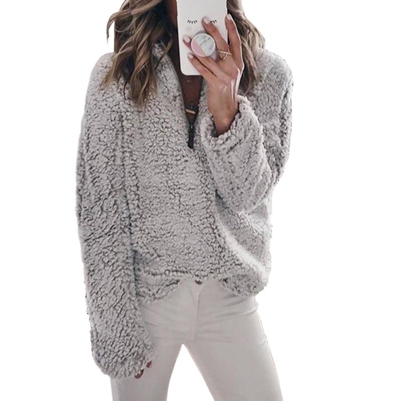 Fashion Harajuku Sweatshirt Women Long Sleeve Fleece Pullover Zipper Tops Hoodies Winter Warm Sweatshirts Outwears Casual Coats