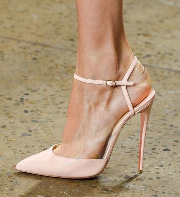 Stilettos G28 Sangle Cuir Nu Chaussures Femmes En Pompes Verni Cheville Bout Pointu Talons Slingbacks Hauts z0OOq