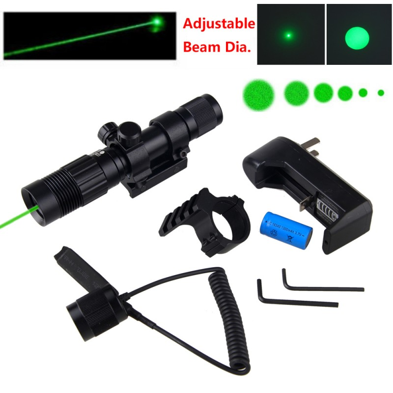 Tactical Adjustable 5mW Green Laser Sight Designator Rifle Gun Scope Hunting 20-21mm Rail Mount with 16340 Li-ion Battery цена 2017