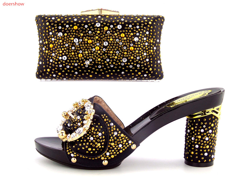 doershow New Arrival black Shoe and Bag Set Decorated with Rhinestone High Quality African Women Shoes and Bag To match M!HBU1-1 alto mick dual shoe bag black