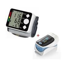 Digital Wrist Blood Pressure Monitor Portable Automatic Sphygmomanometer Tonometer and SpO2 Saturation Meter Fingertip Oximeter
