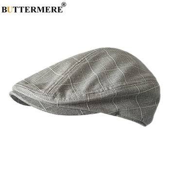 BUTTERMERE Classic Flat Cap Men Plaid Cotton Driving Caps Male Light Grey Vintage Duckbill Ivy Hats Summer British Hats And Caps svadilfari classic beret caps men warm genuine leather caps ivy windproof duckbill hat burgundy winter luxury brand flat hats