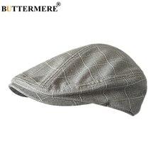 BUTTERMERE קלאסי שטוח כובע גברים משובץ כותנה נהיגה כובעי זכר אור אפור בציר מקור ברווז קיסוס כובעי קיץ בריטי כובעי ו כובעים