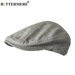 Image 1 - Buttermere 古典的なフラットキャップ男性チェック柄駆動キャップ男性ライトグレーヴィンテージカモノハシアイビー帽子夏英国帽子とキャップ