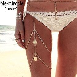 Bls-mucize Plaj Bohemia Yeni Stil moda takı Altın Renk Bacak Zinciri Kadınlar Için Seksi Bildirimi Vücut Zincirleri Aksesuarları BN-32