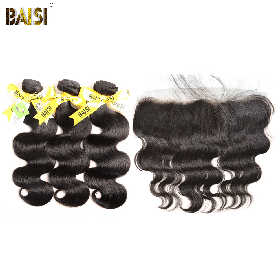 BAISI Hair Brazilian Virgin Body Wave Hair 100% Unprocessed Human Hair10-28 inch, 3 Bundles and 13x4 Frontal, Free Shipping