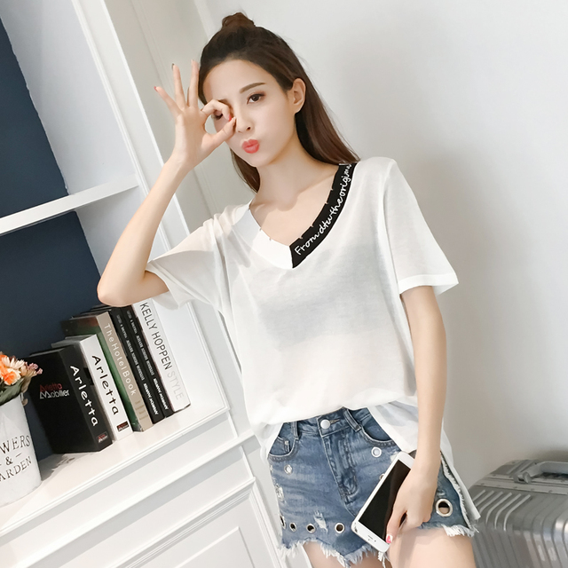New Summer Letter Loose Striped Short Sleeve V-Neck Collar On Hole In Silk  Shirts Blouse Shirt White Green Black 8221 9d0ba6530296