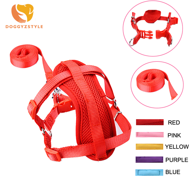 5 Colors Nylon Adjustable Soft Dog Mesh Harness With Leash Chest Collar Strap Pet Outdoor